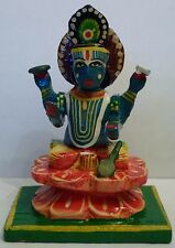 Beautiful Hand Painted Wood Lord Vishnu Hindu God Statue 3""