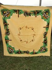 VINTAGE 1950'S ERA YELLOW TABLECLOTH WITH COUNTRY SCENE