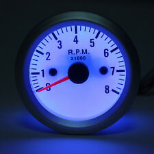 "0 - 8,000 RPM Rev Gauge Tachometer White Face Blue LED 2"" Inch 52mm Tacho NEW"