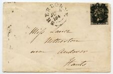 RARE 1840 1d black plate 11  NL cover to Andover tied black Sherborne Maltese X