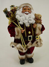 Dekobote,Deko Weihnachtsmann stehend H 45 cm Nikolaus Santa Claus Figur bordeaux