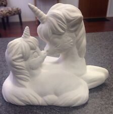 Ceramic Bisque Ornament: 3D Laying Unicorn w/Baby- Ready to Paint