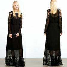 ZARA MAXI DOUBLE LAYER BLACK LACE LONG DRESS SIZE M UK 10 EU 38 USA 6