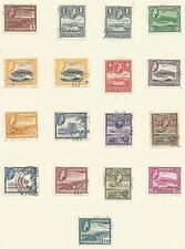 ANTIGUA SGSG120a-134  1953 QE2 SET OF 15 +2 SHADES ON ALBUM PAGE FINE USED C£56