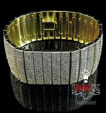 New Mens Womens Designer Tube Link 14k Yellow Gold Finish Lab Diamond Bracelet