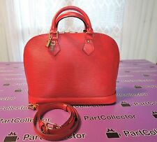 Louis Vuitton Red Coquelicot Epi Leather Alma Shoulder Hand Tote Bag