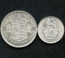 1940 Great Britain 1 Shilling & 1942 Half Crown Coins