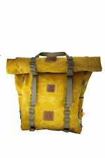 35 L Waxed Canvas roll-top Backpack Yellow Rover