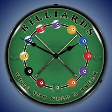 New old style LIGHT UP pool balls BILLIARDS WHEN YOU NEED A BREAK clock