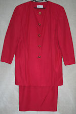 VINTAGE 80s ladies smart red suit long coat & skirt size 14-16 shoulder pads