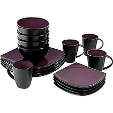Square 16-Pc. Dinnerware Set Plates Dishes Bowls Cups Mugs Serve 4 Purple Dining