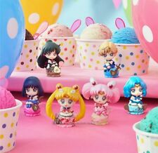 Anime Set 6 Sailor Moon Petit Chara Land Ice Cream Party Toy Figure Doll New