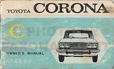 1969-1970 Toyota Corona Owners Manual RT 43 52 Sedan and Coupe Owner Guide Book