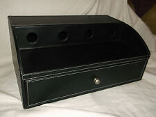 BLACK FAUX-LEATHER DOCKING CHARGING STATION BOX SMARTPHONE VALET DESK ORGANIZER
