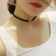 Vintage Velvet Choker Black Necklace Gold O Ring Pendant Victorian Women Gothic