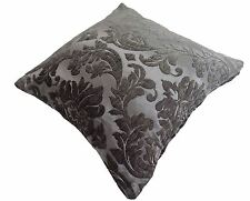 """LUXURIOUS GREY SILVER FLORAL LEAF CHENILLE THICK CUSHION COVER 17"""" - 43CM"""
