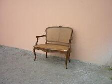 Divano st.Rocaille con seduta e schienale in paglia di vienna, intagliato, '900!