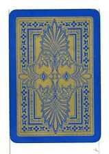 "Single Vintage Old Wide Playing Card, Reversible ""Filgree Design"" Blue/Gold"