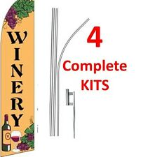 4 (four) WINERY br/blk 15' SWOOPER #1 FEATHER FLAGS KIT with pole+spikes