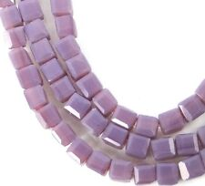 100 Czech Firepolish Glass Faceted Cube Beads 3mm - Opaque Lilac / Amethyst
