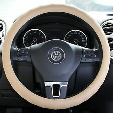 """Light BEIGE PVC Leather Steering Wheel WRAP Cover Chevy Pickup Truck 14-15"""" 38cm"""