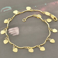 Lovely 9K Yellow Gold Filled Hearts Charms Thin Chain Bracelet 7.48 Inch