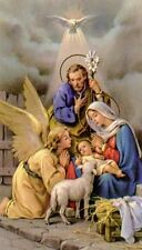 Heiligenbildchen Hl Familie Krippe Jesus Maria Josef Weihnachten 12x7cm HBK 5150