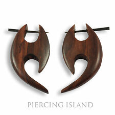 Ohrringe Handarbeit Natur Goa Holz Wood Piercing Design Schmuck ER137
