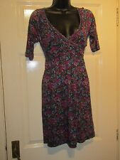 BLACK WITH PURPLE GREEN FLORAL DRESS - UK Size 10