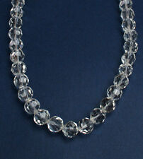 Natural clear faceted 10mm crystal bead sterling silver necklace NKL240004 -18""