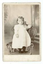 B0177~ Cute little Girl on Wicker Chair Portrait Cabinet CardCard