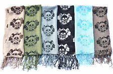 SKULL PIRATES 3 DESIGN LINEN SCARVES WHOLESALE JOB LOT SARONG COLOURFUL SHAWL