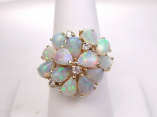 14K Gold Estate Ring Genuine Opal & Diamond 8.5 Gr 2 Small Chips Size 9.25 #3219