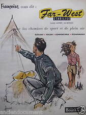 PUBLICITÉ 1955 FAR WEST CHEMISES DE SPORT ET DE PLEIN AIR - ADVERTISING