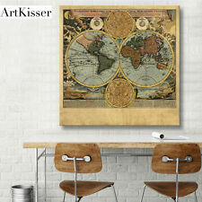 Old History Canvas Painting Giclee Print Vintage Wall Dec World Map Art 16x16""