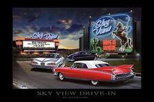 SKY VIEW DRIVE IN ART PRINT HELEN FLINT theater film cars movies 24x36 poster