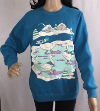 True Vintage 1989 Ugly Christmas Sweater Ice Skating Geese Sweatshirt - Medium