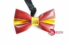 Kids Boy Dark Red and Gold Faux Leather Bowtie Bow Tie 1 to 6 Years Old Wedding