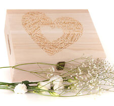 Personalised Engraved Wooden Wedding Keepsake Memory Trinket Box Heart Design