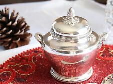VINTAGE Christofle PERLES EMPIRE bows Silver-plate Sugar Pot Bowl with lid 5 3/8
