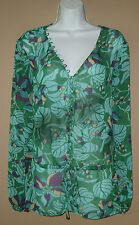 Womens Size XL Long Sleeve Blue Green Purple Floral Blouse Top Shirt