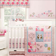 FULL CRIB SIZE - Graco Woodland Owls Pink NURSERY VALANCE & 3-PC BEDDING SET
