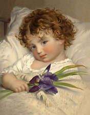 Curly Hair Blue eyed child with Iris by J Anderson Vintage art
