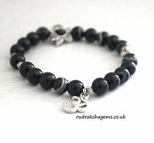 Black Onyx Power Beads OM LOTUS Charm Healing Chakra Bracelet Crystal Gemstone