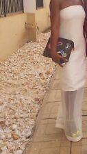 Aqaq Maxi Dress With Sheer Detail Bottom Cream. Size 8 UK Aqua By Aqua
