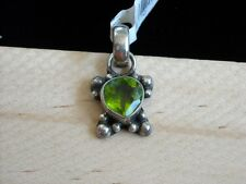 Green Peridot Faceted Heart Gemstone and Sterling Silver Handmade Pendant 1""