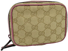 $295 GUCCI Beige Pink GG Logo Canvas Leather Pouch Coin Wallet Mini Bag