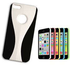 COVER FLIP COMPATIBLE IPHONE 5 PLASTIC BICOLOURED WITH WINDOWED WHITE BLACK
