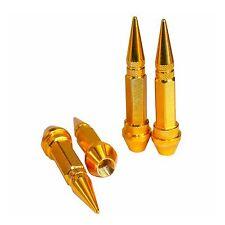 4PC GOLD LONG SPIKED VALVE STEM CAPS KIT/SET FOR RIM/WHEEL/TIRES