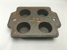 Antique Cast Iron Popover Muffin Pan - 4 Muffin Cavities ~ Heavy ~ 6 Pounds!